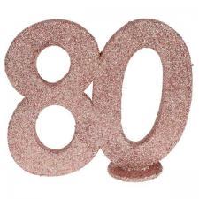 Centre de table anniversaire 80ans rose gold pailleté (x1) REF/6915
