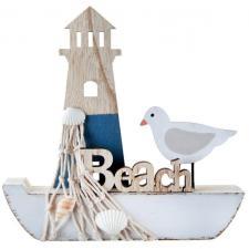 Centre de table bateau de pêche en bois (x1) REF/6380