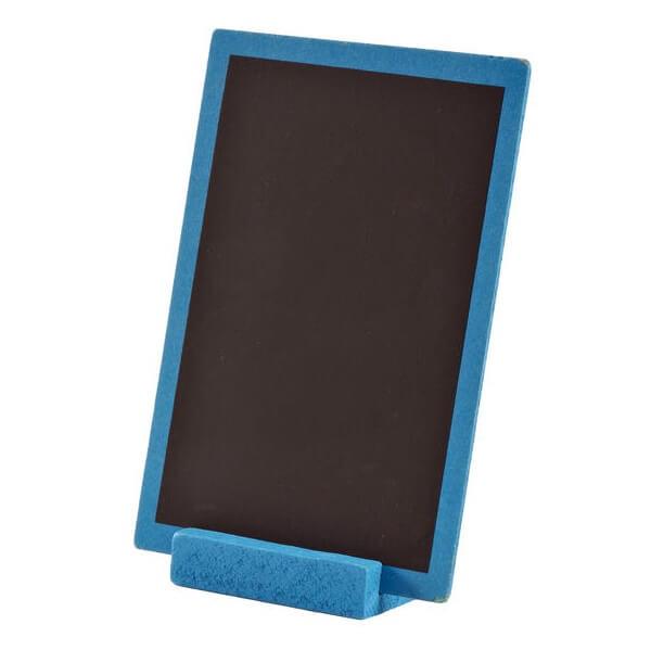 Centre de table bleu turquoise en bois avec ardoise