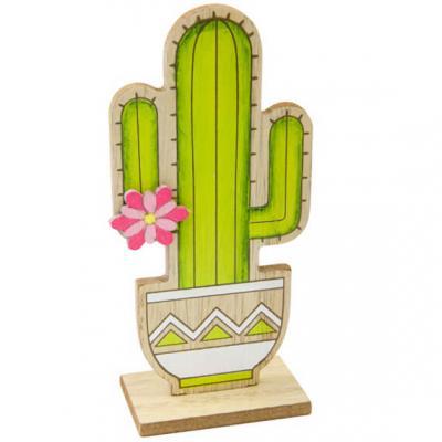 Centre de table cactus vintage bois 14cm (x1) REF/DEK0084