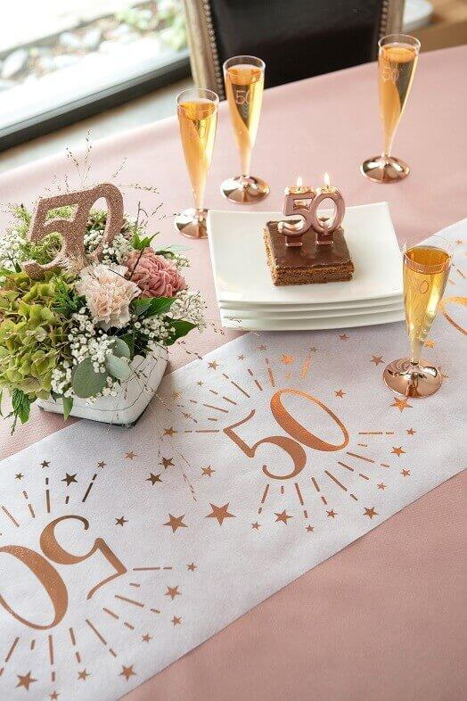 Centre de table decoratif anniversaire 50ans rose gold paillete