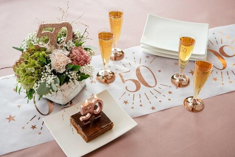 Centre de table decoratif anniversaire 50ans rose gold