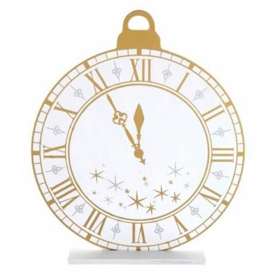 Centre de table en bois Bonne Année horloge blanc, argent et or (x1) REF/6978