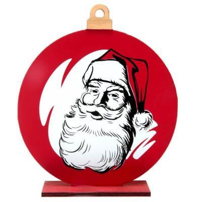 Décoration de table avec tête de père Noël rouge et blanc en bois (x1) REF/7077
