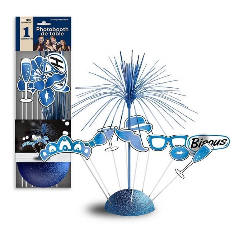 Centre de table festif photobooth bleu
