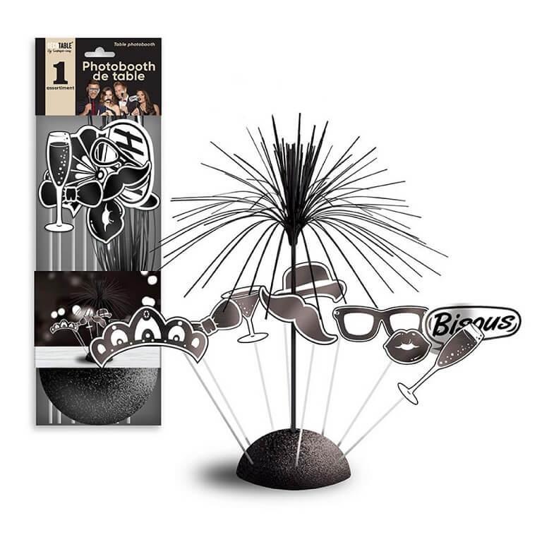 Centre de table festif photobooth noir