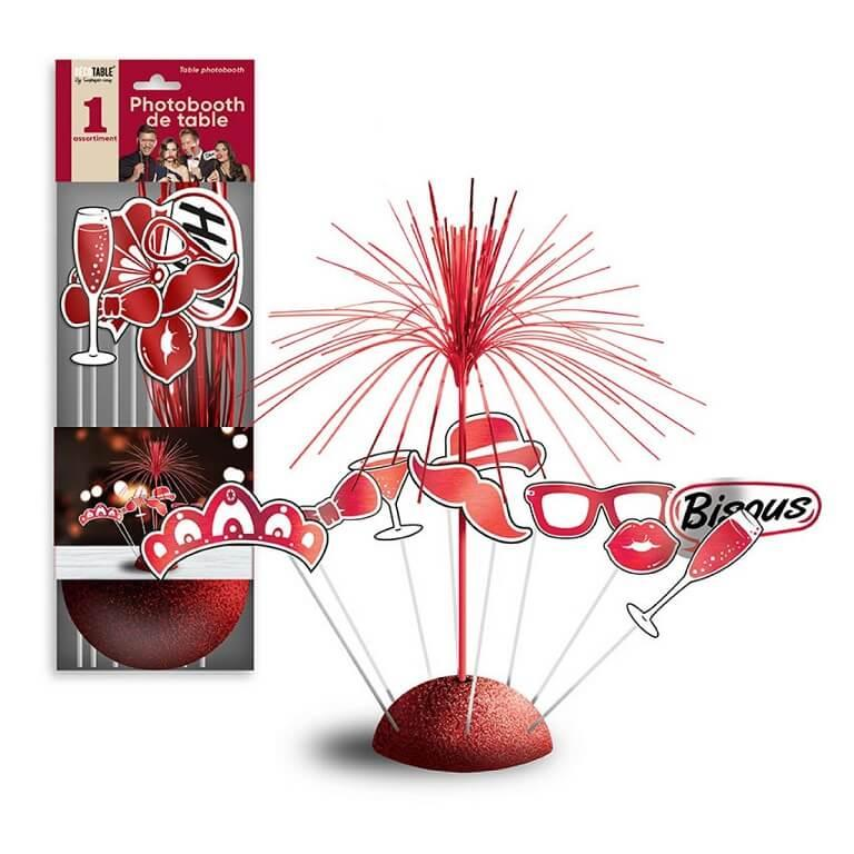 Centre de table festif photobooth rouge
