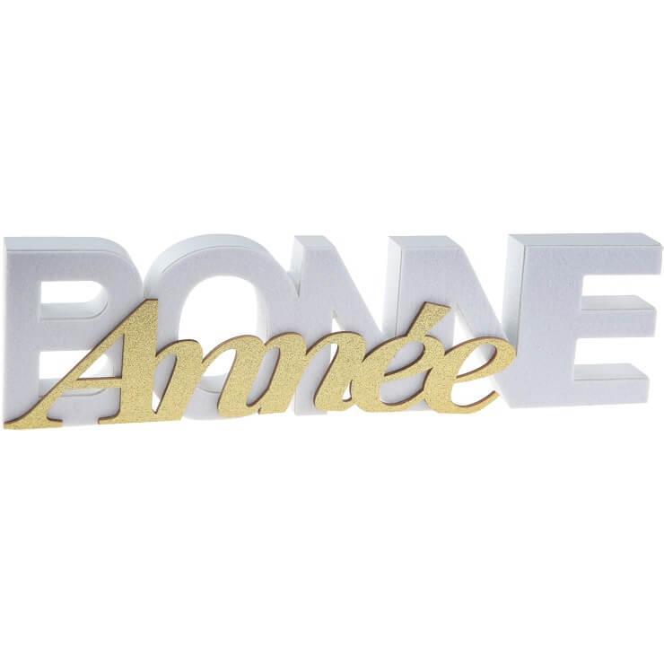 Centre de table lettre bois bonne annee blanc et or