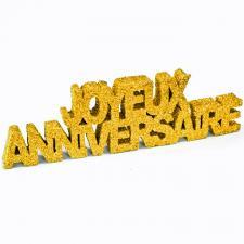Lettre joyeux anniversaire pailletée dorée (x1) REF/DEC758
