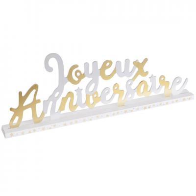 Centre de table lettre joyeux anniversaire en bois blanc et or métallique (x1) REF/6644