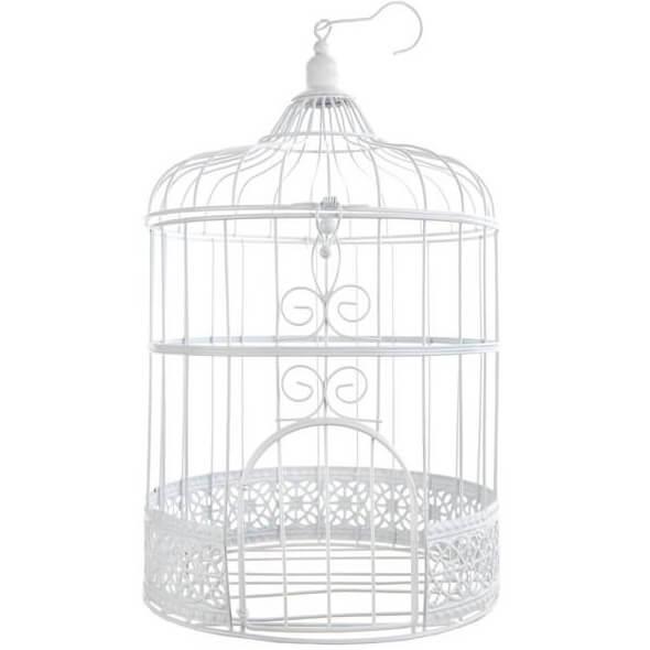 Centre de table mariage cage blanche metallique