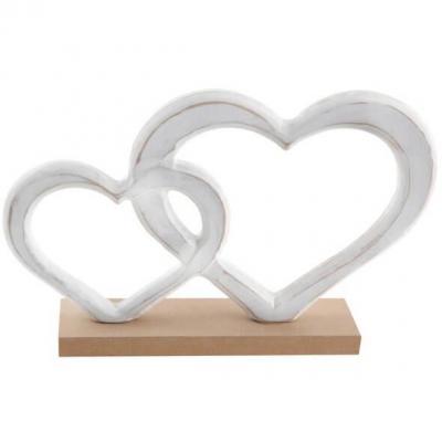 Centre de table mariage coeurs en bois blanc et naturel (x1) REF/6835