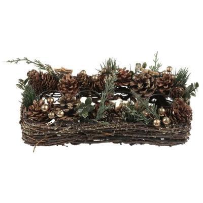 Centre de table Noël pour bougie en décoration hivernale en bois (x1) REF/7478