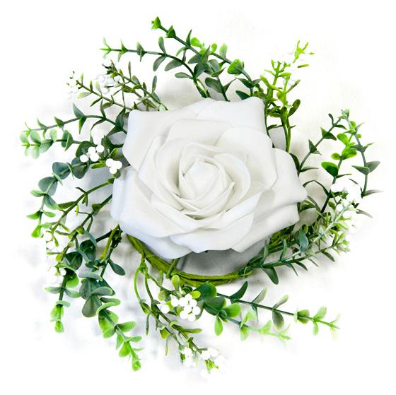 Rose Et Blanche : Centre de table rose blanche et feuillage ref fma