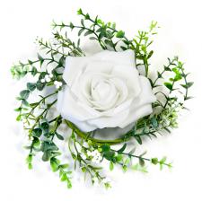 Centre de table rose blanche et feuillage (x1) REF/FMA3018