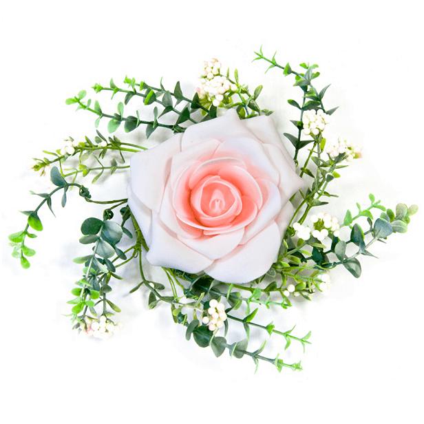 Centre de table rose rose et feuillage