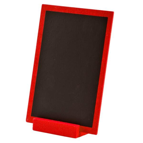 Centre de table rouge en bois avec ardoise
