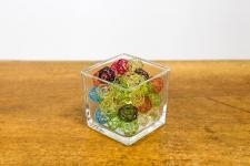 Location d'un petit vase carré en verre épais transparent de 8cm. (x5) REF/EV-345
