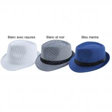 Chapeau Borsalino adulte: Blanc avec rayures (x1) REF/16630