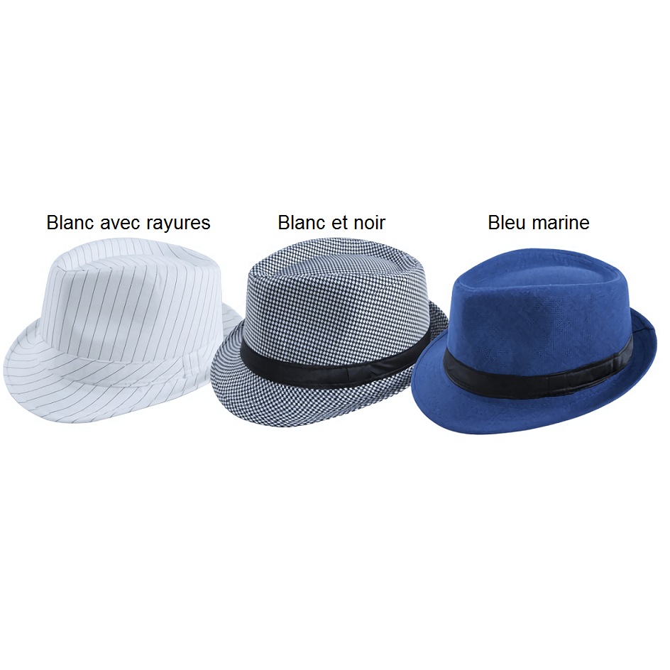 Chapeau borsalino blanc et noir