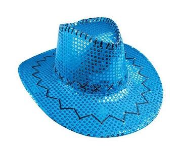 Chapeau cow boy avec sequins bleu tuquoise
