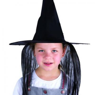 Chapeau de sorcière enfant avec cheveux noirs (x1) REF/74791