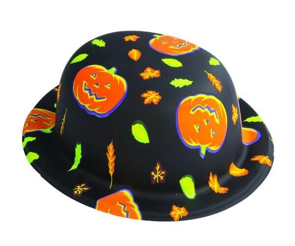 Chapeau melon halloween orange et noir