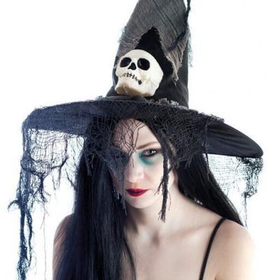 Chapeau de sorcière avec crane (x1) REF/39051