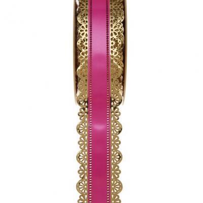 Charlotte dentelle or et fuchsia, 40mm (x1) REF/1699