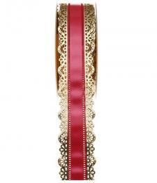 Charlotte dentelle or et rouge, 40mm (x1) REF/1699