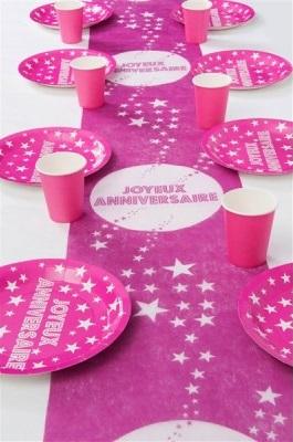 Chemin de table anniversaire toile fuchsia x1 ref 868fu for Chemin de table etoile
