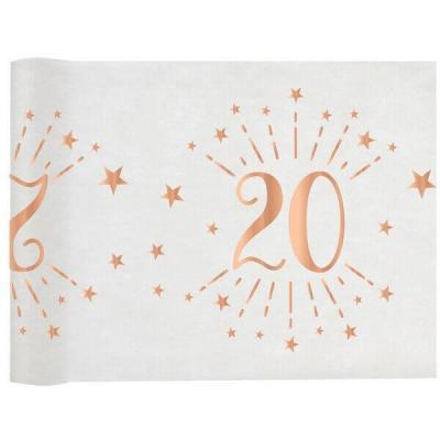 Chemin de table élégant anniversaire 20ans rose gold 30cm x 5m (x1) REF/7344