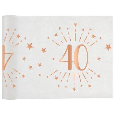 Chemin de table élégant anniversaire 40ans rose gold 30cm x 5m (x1) REF/7344