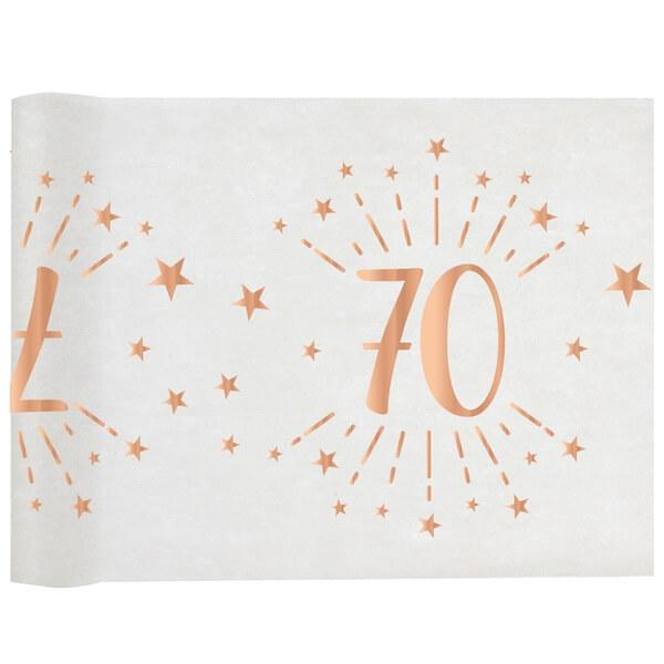 Chemin de table anniversaire 70 ans blanc et rose gold