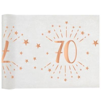 Chemin de table élégant anniversaire 70ans rose gold 30cm x 5m (x1) REF/7344