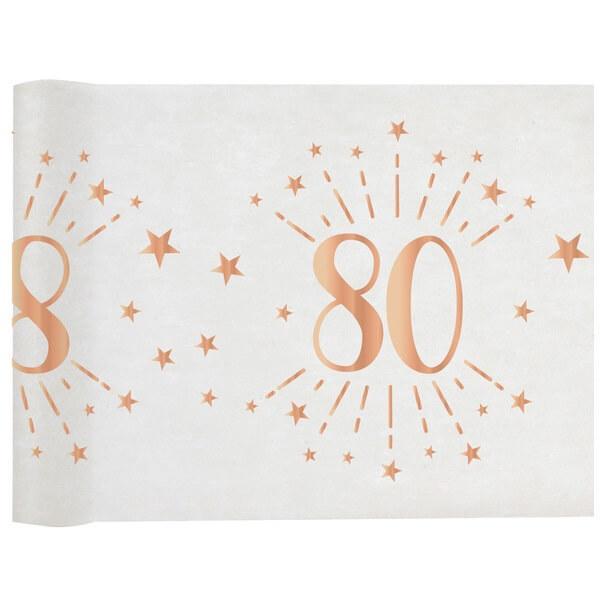 Chemin de table anniversaire 80 ans blanc et rose gold