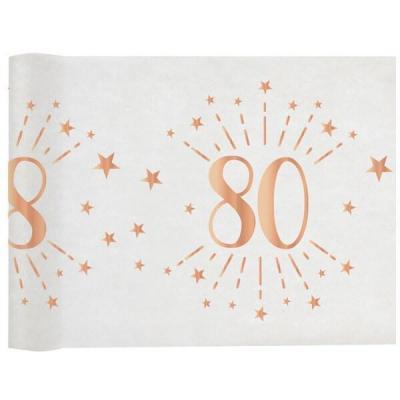 Chemin de table élégant anniversaire 80ans rose gold 30cm x 5m (x1) REF/7344