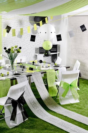 Chemin de table anniversaire blanc 5
