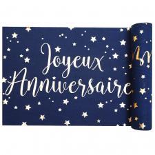Chemin de table joyeux anniversaire bleu marine et or métallique (x1) REF/5668