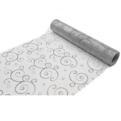 Chemin de table arabesque pailleté gris (x1) REF/ORG400