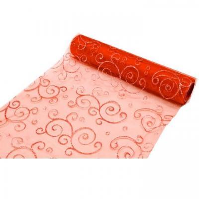 Chemin de table arabesque pailletée rouge (x1) REF/ORG400