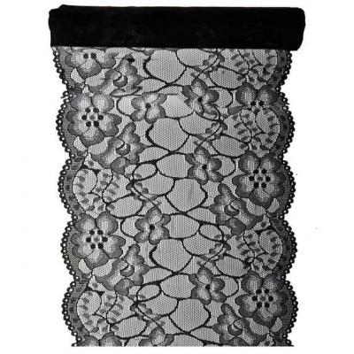 Chemin de table noir dentelle 18cm x 3m (x1) REF/5290