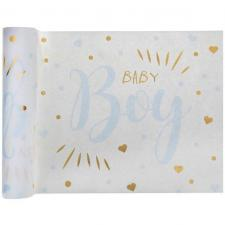 Chemin de table Baby Shower Boy blanc, bleu ciel et or métallisé 3m x 28cm (x1) REF/7251