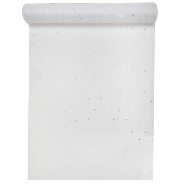 Chemin de table blanc strass