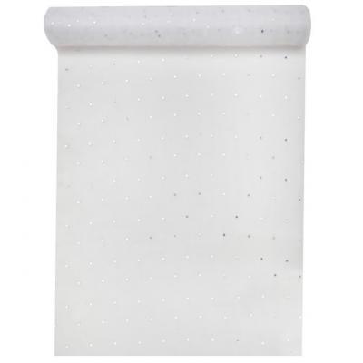 Chemin de table organdi blanc strass 30cm x 5m (x1) REF/6207