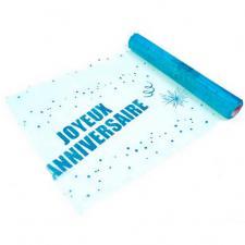 Chemin de table anniversaire bleu turquoise 29cm x 5m (x1) REF/ORG642