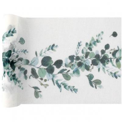 Chemin de table Champêtre Bucolique blanc et vert 26cm x 3m (x1) REF/7288
