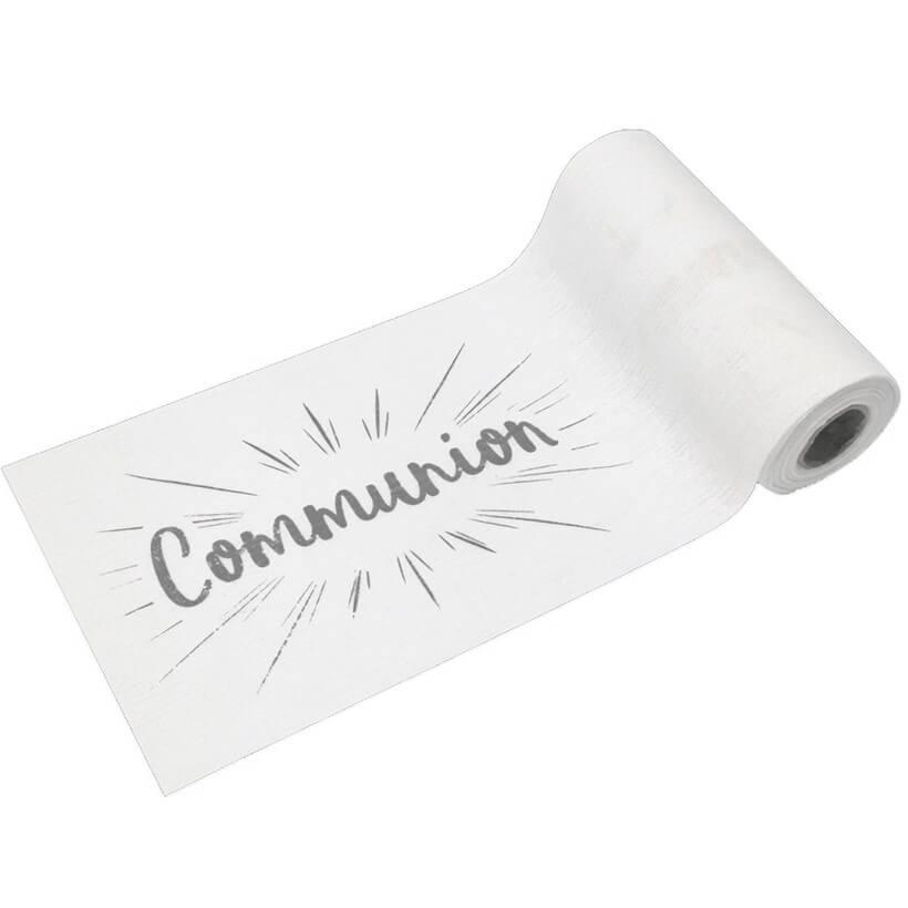 Chemin de table communion blanc et argent metallique