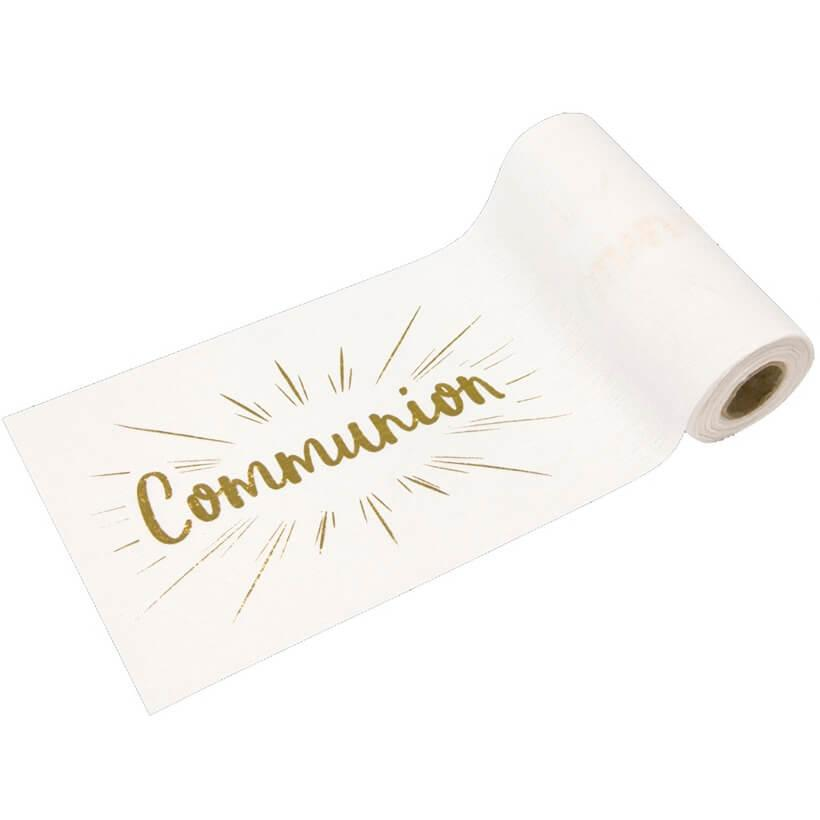 Chemin de table communion blanc et or metallique