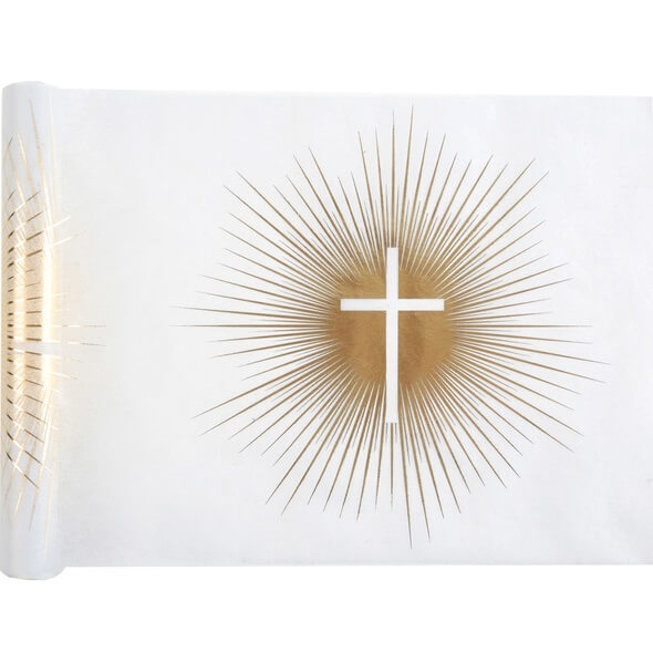 Chemin de table communion croix blanc et or metallise